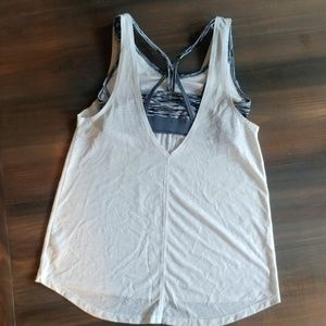 Champion white tank w built in bra